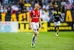 Solna 2014-07-12 Fotboll Allsvenskan AIK - Kalmar FF :  <br /> Kalmars Tobias Eriksson deppar<br /> (Foto: Kenta J&ouml;nsson) Nyckelord:  AIK Gnaget Friends Arena Kalmar KFF depp besviken besvikelse sorg ledsen deppig nedst&auml;md uppgiven sad disappointment disappointed dejected