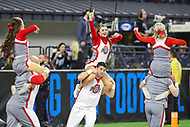 Indianapolis, IN - December 1, 2018: Ohio State Buckeyes cheerleaders celebrate a touchdown during the Big Ten championship game between Northwestern  and Ohio State at Lucas Oil Stadium in Indianapolis, IN.   (Photo by Elliott Brown/Media Images International)