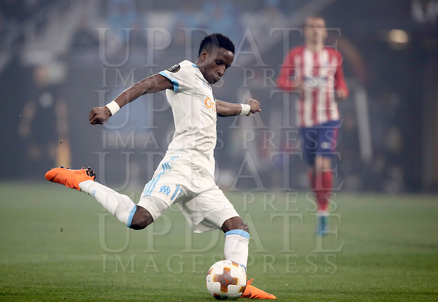Olympique de Marseille's Bouna Sarr kicks the ball during the UEFA Europa League final football match between Olympique de Marseille and Club Atletico de Madrid at the Groupama Stadium in Decines-Charpieu, near Lyon, France, May 16, 2018.<br /> UPDATE IMAGES PRESS/Isabella Bonotto