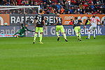 09.09.2017, WWK-Arena, Augsburg, GER, 1.FBL, FC Augsburg vs 1.FC Koeln, im Bild<br /> <br /> Doppelpack Alfred FINBOGASON (FC Augsburg #27) nach diesem Elfer gegen Torwart Timo HORN (1.FC Koeln #1)<br /> <br /> Foto &copy; nordphoto / Schreyer