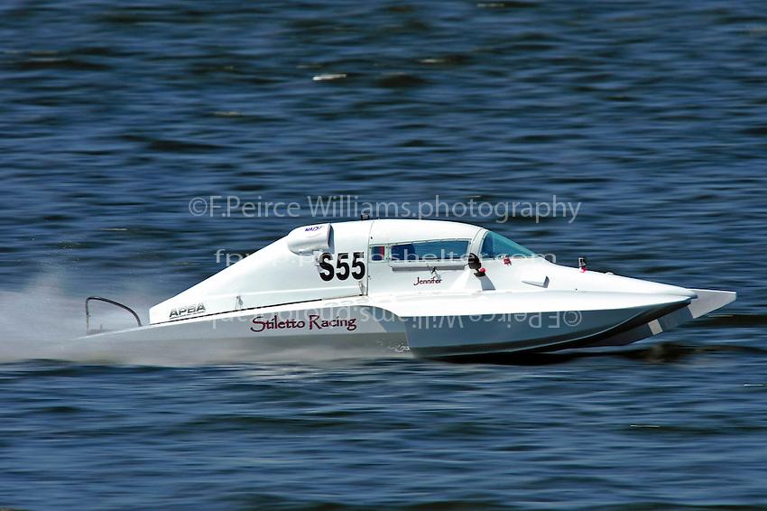 """Jennifer Falcinelli. S-55 """"Stilleto Racing"""" (2.5 Litre Stock hydroplane(s)"""