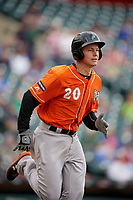 Norfolk Tides Ryan Mountcastle (20) runs to first base during an International League game against the Buffalo Bisons on June 21, 2019 at Sahlen Field in Buffalo, New York.  Buffalo defeated Norfolk 2-1, the first game of a doubleheader.  (Mike Janes/Four Seam Images)