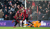 Jordon Ibe of AFC Bournemouth celebrates his goal with Callum Wilson of AFC Bournemouth during the Premier League match between Bournemouth and Arsenal at the Goldsands Stadium, Bournemouth, England on 14 January 2018. Photo by Andy Rowland.