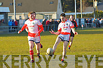Shane O'Sullivan and Liam O'Sullivan (St Pats Blennerville) in action with Colm O'Sullivan (Kenmare Shamrocks) on Saturday at St Pats GAA Grounds Blennerville in the Credit Union Senior Football League, 2013, Div2 . Round 2.