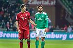01.12.2018, Weser Stadion, Bremen, GER, 1.FBL, Werder Bremen vs FC Bayern Muenchen, <br /> <br /> DFL REGULATIONS PROHIBIT ANY USE OF PHOTOGRAPHS AS IMAGE SEQUENCES AND/OR QUASI-VIDEO.<br /> <br />  im Bild<br /> Javi Martinez (FC Bayern Muenchen #08)<br /> Claudio Pizarro (Werder Bremen #04)5<br /> <br /> <br /> Foto &copy; nordphoto / Kokenge