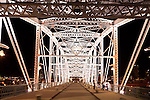 Shelby Street Pedestrian Bridge at night , Nashville Riverfront