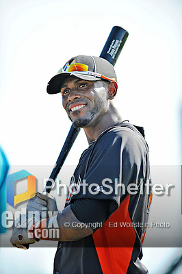 13 March 2012: Miami Marlins infielder Jose Reyes awaits his turn in the batting cage prior to a Spring Training game against the Atlanta Braves at Roger Dean Stadium in Jupiter, Florida. The two teams battled to a 2-2 tie playing 10 innings of Grapefruit League action. Mandatory Credit: Ed Wolfstein Photo