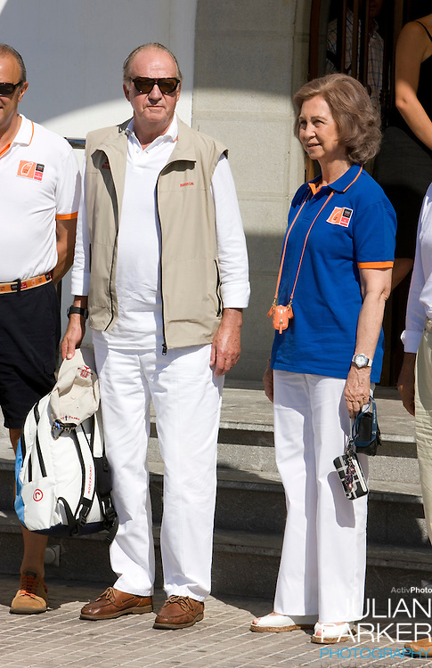 King Juan Carlos & Queen Sofia of Spain   at the Royal Yacht Club in  Palma, Mallorca. On the second day of The Copa Del Rey sailing regatta.
