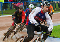 31 AUG 2015 - IPSWICH, GBR - Adam Peck of Ipswich leads a heat at the British Cycle Speedway Championships at Whitton Sports and Community Centre in Ipswich, Suffolk, Great Britain (PHOTO COPYRIGHT © 2015 NIGEL FARROW, ALL RIGHTS RESERVED)