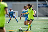 Seattle, WA - Sunday, May 22, 2016: Seattle Reign FC forward Kiersten Dallstream (25) looks for a pass during a regular season National Women's Soccer League (NWSL) match at Memorial Stadium. Chicago Red Stars won 2-1.