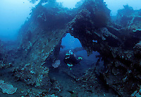 A diver swimming through the wreck of USAT Liberty, a United States Army transport ship torpedoed by a Japanese submarine January 1942, near Tulamben. Coral growth and abundant marine life has made this a popular tourist destiantion for divers. In turn creating business opportunities and jobs for locals who often used to practice destructive fishing methods.  .