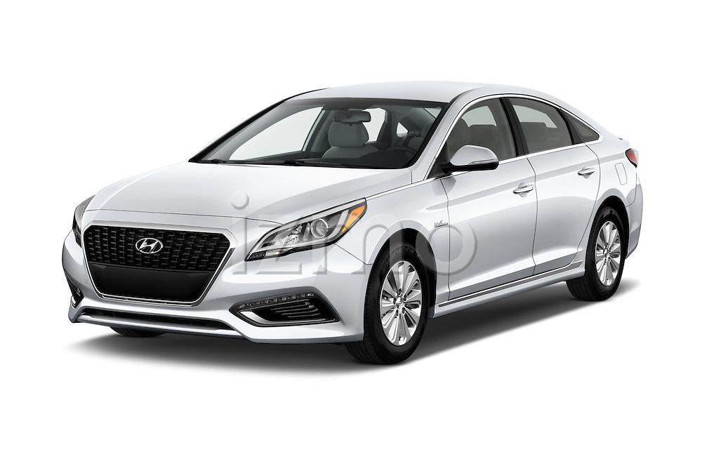 2017 Hyundai Sonata-Hybrid Hybrid 4 Door Sedan Angular Front stock photos of front three quarter view