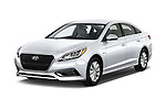 2017 Hyundai Sonata-Hybrid Hybrid 4 Door Sedan Angular Front stock photos of front three quarter view