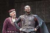 London, UK. 25 April 2015. Jonathan Pryce as Shylock and Stefan Adegbola as Launcelot Gobbo. William Shakespeare's The Merchant of Venice is performed at Shakespeare's Globe, Globe Theatre, from 23 April - 7 June 2015. With Daniel Lapaine as Bassanio, Rachel Pickup as Portia and Jonathan Pryce as Shylock. Photo: Bettina Strenske