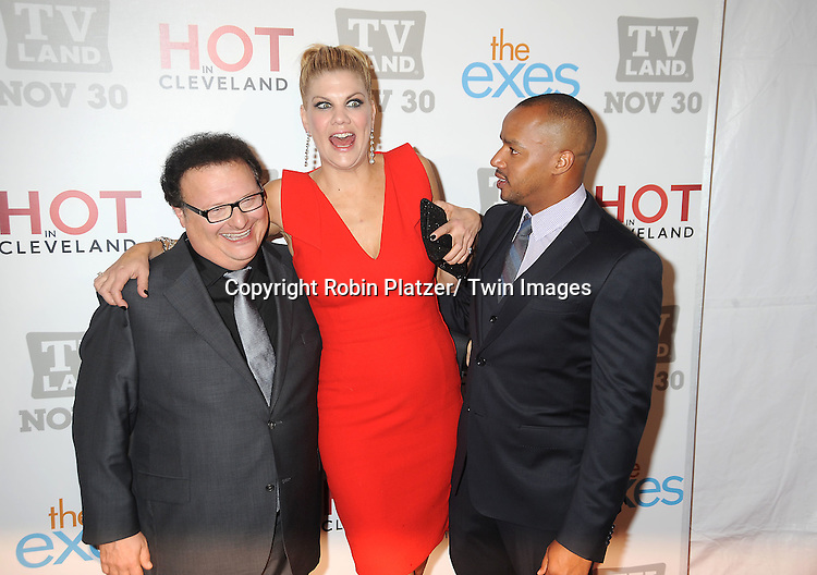 """cast of """"The Exes"""" Wayne Knight, Kristen Johnston and Donald Faison attend the TV Land Party for the  premieres of """"Hot In Cleveland"""" and """"The Exes""""  on November 29, 2011 at SD26 in New York City. the party also celebrated Toys for Tots."""