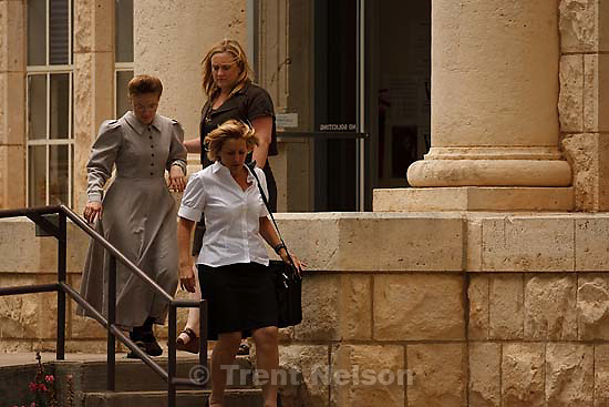 Eldorado - at the Schleicher County Courthouse Wednesday, June 25, 2008, where a grand jury met to hear evidence of possible crimes involving FLDS church members from the YFZ ranch. Andrea Sloan, Laura Shockley