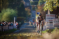 Lars Van der Haar (NLD/Giant-Alpecin) in 2nd position up the Koppenberg cobbles<br /> <br /> Elite Men's race<br /> Koppenbergcross 2015