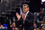 COLUMBUS, OH - MARCH 30: Connecticut Huskies head coach Geno Auriemma instructs his team against Notre Dame during a semifinal game of the 2018 NCAA Division I Women's Basketball Final Four at Nationwide Arena in Columbus, Ohio. (Photo by Ben Solomon/NCAA Photos via Getty Images)