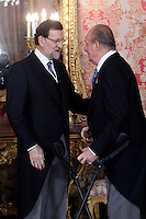 King Juan Carlos of Spain and Prime Minister of Spain Mariano Rajoy attends the reception of the diplomatic corps in Spain at Palacio Real. January 23, 2013. (ALTERPHOTOS/Caro Marin) /NortePhoto