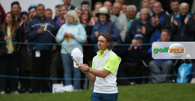 Applauding the applause, Tommy Fleetwood (ENG) shoots a 65 during Round Three of the 2015 BMW PGA Championship over the West Course at Wentworth, Virginia Water, London. 23/05/2015. Picture David Lloyd | www.golffile.ie.