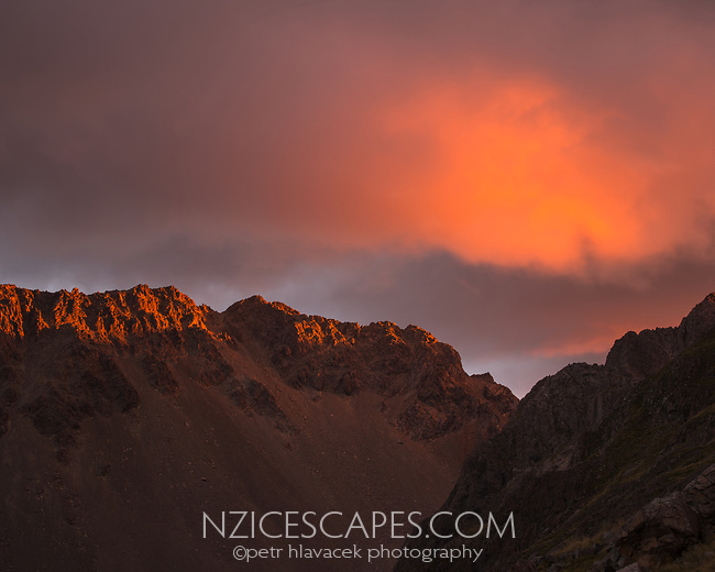 Last rays of sunset light on St. Arnaud Ranges, Nelson Lake National Park, South Island, New Zealand, NZ