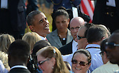 United States President Barack Obama shakes hands after he made his remarks  at the 12th anniversary commemoration of the 9/11 terrorist attacks at the Pentagon Memorial at the Pentagon in Washington, DC on September 11, 2013. Nearly 3,000 people were killed in the attacks in New York, Washington and Shanksville, Pennsylvania. <br /> Credit: Pat Benic / Pool via CNP