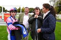 Connections of N over J chat to jockey Adam Beschizza in the winners enclosure after winning The Bathwick Car & Van Hire Novice Auction Stakes  during Bathwick Tyres Reduced Admission Race Day at Salisbury Racecourse on 9th October 2017