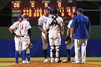 MONTERIA - COLOMBIA, 12-11-2019: Vaqueros de Montería y Gigantes de Barranquilla en partido 4 de la serie 1 de la Liga Profesional de Béisbol Colombiano temporada 2019-2020 jugado en el estadio estadio Dieciocho de Junio de la ciudad de Montería. / Vaqueros de Monteria and Gigantes de Barranquilla in match 4 series 1 as part Colombian Baseball Professional League season 2019-2020 played at Baseball Stadium on June 18 in Monteria city. Photo: VizzorImage / Andres Felipe Lopez / Cont