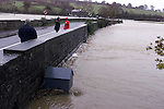 The River Nanny burst its banks at Duleek building up behind each bridge at it raced its way to the Sea at Laytown. the water had reached the 3 meter mark at this bridge in Duleek..Pic Fran Caffrey Newsfile