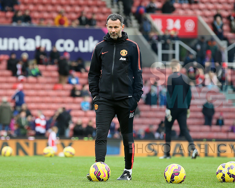 Ryan Giggs coach at Manchester Utd - Barclays Premier League - Stoke City vs Manchester Utd - Stoke - England - 1st January 2015 - Picture Simon Bellis/Sportimage