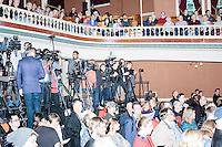 People wait for Vermont senator and Democratic presidential candidate Bernie Sanders before he speaks at a town hall at the Rochester Opera House in Rochester, New Hampshire, on Thurs., Feb. 4, 2016. Press and attendee turnout was low for the event because of scheduling issues. The rally had been scheduled for the previous day, postponed, and then rescheduled just a few hours before the event took place. Later that night, Sanders took part in an MSNBC-sponsored debate with Hillary Rodham Clinton.
