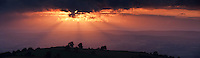 Panoramic sunset over rural Welsh landscape, Hay Bluff, Powys, Wales