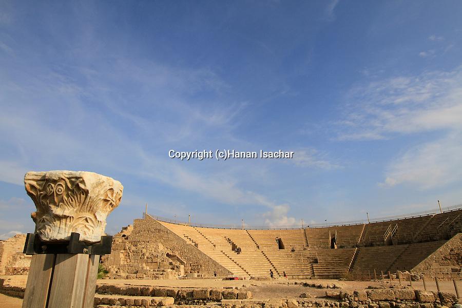 Israel, Sharon region, the Roman Theater in Caesarea, built in Herod's time