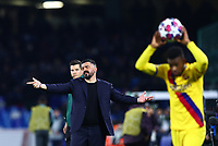 25th February 2020; Stadio San Paolo, Naples, Campania, Italy; UEFA Champions League Football, Napoli versus Barcelona; Gennaro Gattuso coach of Napoli appeals to the referee