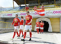 20190304 - LARNACA , CYPRUS : Austrian players with Julie Hickelsberger (11) and Katharina Schiechtl (6)  pictured entering the pitch prior to a women's soccer game between Slovakia and Austria , on Monday 4 th March 2019 at the GSZ Stadium in Larnaca , Cyprus . This is the third and last game in group C for both teams during the Cyprus Womens Cup 2019 , a prestigious women soccer tournament as a preparation on the Uefa Women's Euro 2021 qualification duels. PHOTO SPORTPIX.BE | DAVID CATRY