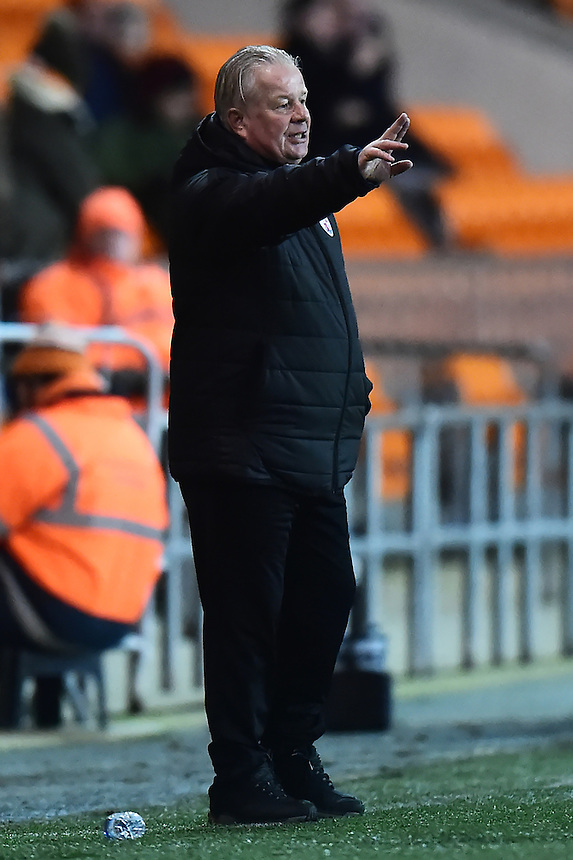 Crawley Town manager Dermot Drummy gestures<br /> <br /> Photographer Richard Martin-Roberts/CameraSport<br /> <br /> The EFL Sky Bet League Two - Blackpool v Crawley Town - Tuesday 7th February 2017 - Bloomfield Road - Blackpool<br /> <br /> World Copyright &copy; 2017 CameraSport. All rights reserved. 43 Linden Ave. Countesthorpe. Leicester. England. LE8 5PG - Tel: +44 (0) 116 277 4147 - admin@camerasport.com - www.camerasport.com