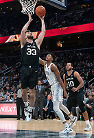 WASHINGTON, DC - JANUARY 28: Bryce Golden #33 of Butler brings down a rebound during a game between Butler and Georgetown at Capital One Arena on January 28, 2020 in Washington, DC.