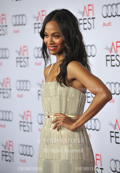 Zoe Saldana at the Los Angeles premiere of her movie &quot;Out of the Furnace&quot;, part of the AFI Fest 2013, at the TCL Chinese Theatre, Hollywood.<br /> November 9, 2013  Los Angeles, CA<br /> Picture: Paul Smith / Featureflash