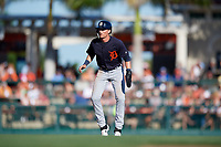 Detroit Tigers center fielder Daniel Woodrow (80) leads off second base during a Grapefruit League Spring Training game against the Baltimore Orioles on March 3, 2019 at Ed Smith Stadium in Sarasota, Florida.  Baltimore defeated Detroit 7-5.  (Mike Janes/Four Seam Images)