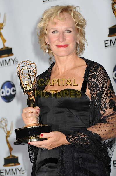 GLENN CLOSE .60th Annual Primetime Emmy Awards held at the Nokia Theatre, Los Angeles, California, USA..September 21st, 2008.pressroom press room half length black dress lace wrap shawl red lipstick award trophy .CAP/ADM/BP.©Byron Purvis/AdMedia/Capital Pictures.