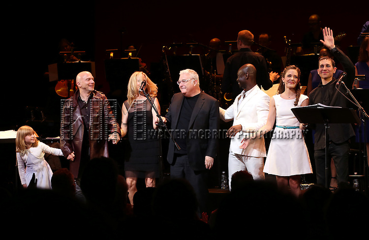 Brooklyn Shuck, Michael Cerveris, Vonda Shepard, Randy Newman, Isaiah Johnson, Laura Osnes and Tony Vincent during the Curtain Call for the New York City Center Encores! Off-Center production of 'Randy Newman's FAUST' - The Concert at City Center on July 1, 2014 in New York City.