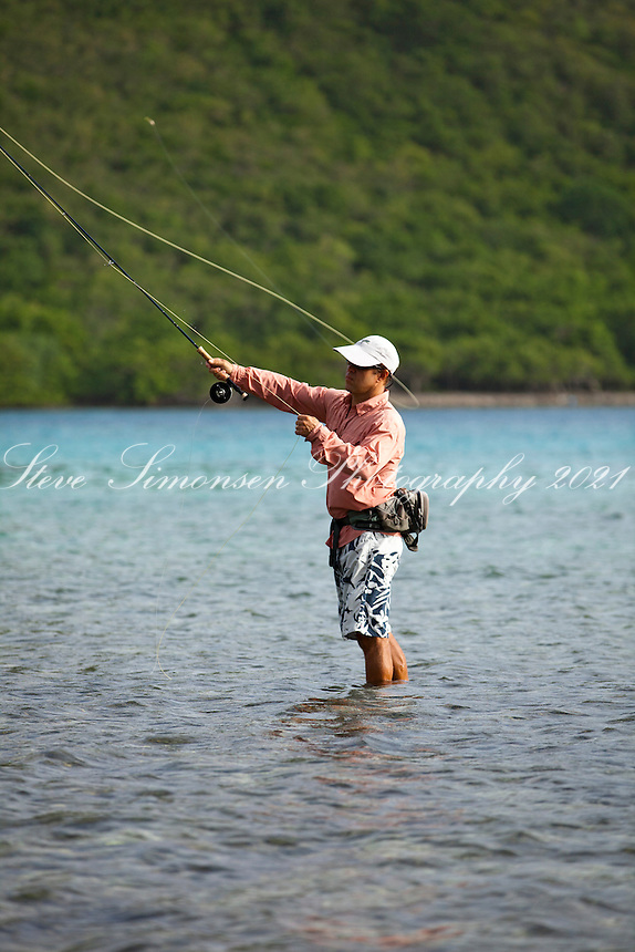 Arthur Jones of Arawak Expeditions flyfishing.in the flats of Leinster Bay.St. John.U.S. Virgin Islands