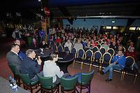 VOETBAL: ABE LENSTRA STADION: HEERENVEEN: 23-01-2014, Supportersavond, v.l.n.r. Hans Vonk (technische zaken), Jelko van der Wiel (voorzitter) , Marco van Basten (trainer/coach), Martin de Roon speler/aanvoerder, ©foto Martin de Jong