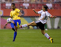 Germany forward (8) Sandra Smisek and Brazil midfielder (5)  Renata Costa. Germany defeated Brazil, 2-0 during the FIFA Women's World Cup final at Hongkou Stadium in Shanghai, China on September 30, 2007.