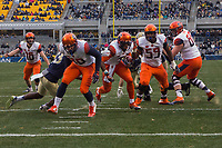 Syracuse running back Dontae Strickland scores on a 5-yard touchdown run. The Pitt Panthers defeated the Syracuse Orange 76-61 at Heinz Field in Pittsburgh, Pennsylvania on November 26, 2016.