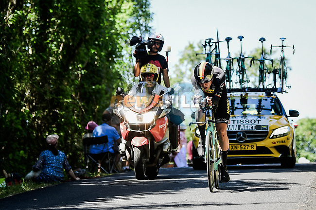 Belgian Champion Wout Van Aert (BEL) Team Jumbo-Visma in action during Stage 13 of the 2019 Tour de France an individual time trial running 27.2km from Pau to Pau, France. 19th July 2019.<br /> Picture: ASO/Pauline Ballet | Cyclefile<br /> All photos usage must carry mandatory copyright credit (© Cyclefile | ASO/Pauline Ballet)