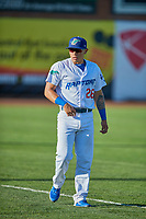 Cesar Mendoza (26) of the Ogden Raptors before the game against the Missoula Osprey at Lindquist Field on August 12, 2019 in Ogden, Utah. The Raptors defeated the Osprey 4-3. (Stephen Smith/Four Seam Images)