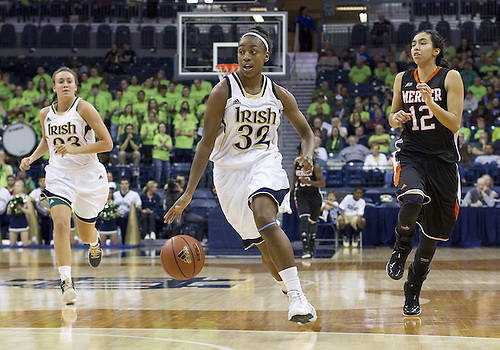 November 20, 2012:  Notre Dame guard Jewell Loyd (32) drives to the basket during NCAA Women's Basketball game action between the Notre Dame Fighting Irish and the Mercer Bears at Purcell Pavilion at the Joyce Center in South Bend, Indiana.  Notre Dame defeated Mercer 93-36.