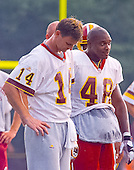 Washington Redskins quarterback Brad Johnson (14) and running back Stephen Davis (48) look on as their team participates in drills during the team's training camp at Redskins Park in Ashburn, Virginia on August 10, 2000.<br /> Credit: Arnie Sachs / CNP