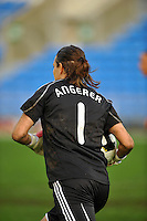 German goalkeeper Nadine Angerer carries the ball after making a save.  The USA captured the 2010 Algarve Cup title by defeating Germany 3-2, at Estadio Algarve on March 3, 2010.